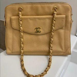 Authentic Chanel Beige Caviar Front Flap Handbag